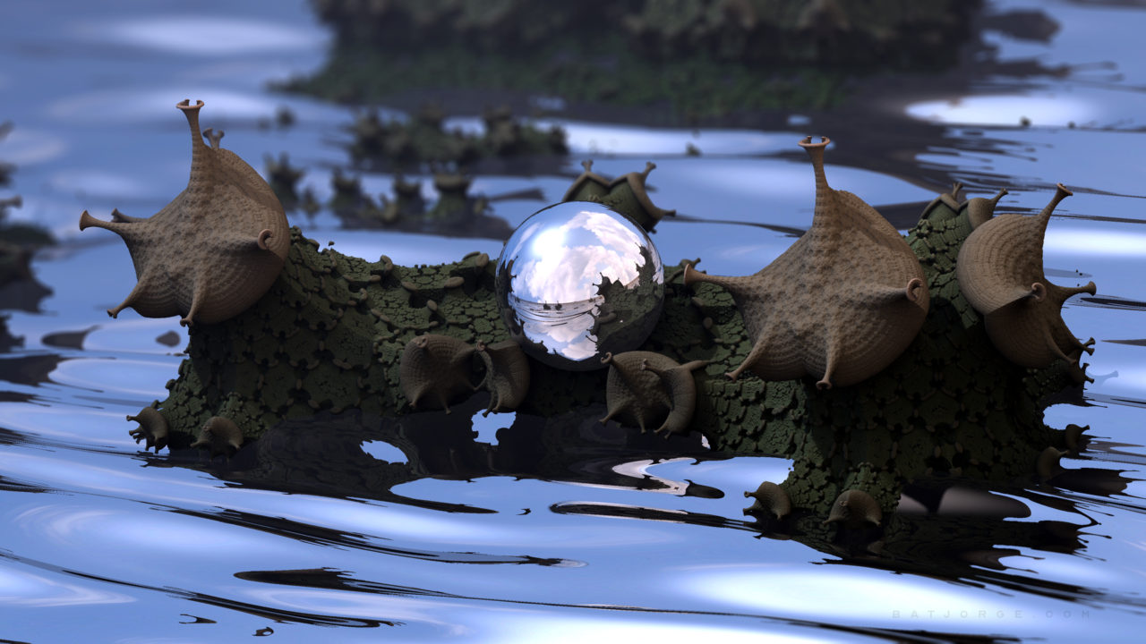 3d fractal with water and a reflecting sphere