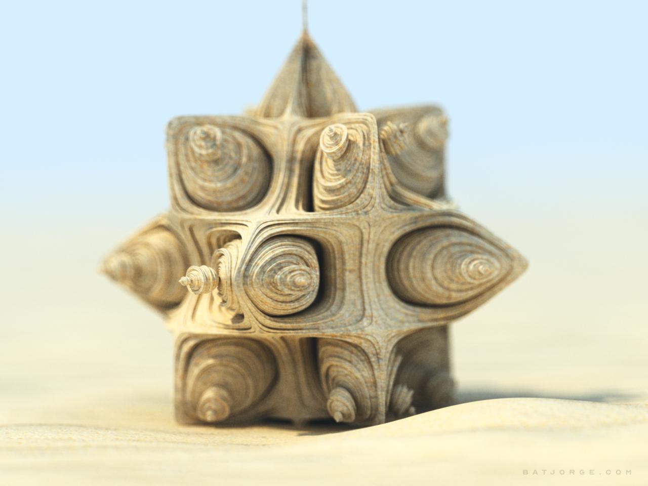 3d fractal figure in a desert. sunny