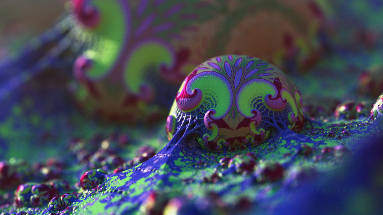 3d organic fractal with very psychedekic coloring