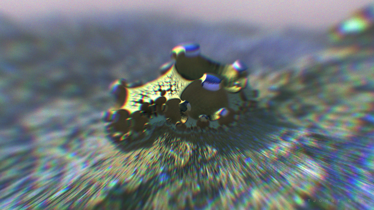 organic 3d fractal with chromatic aberration lens effect