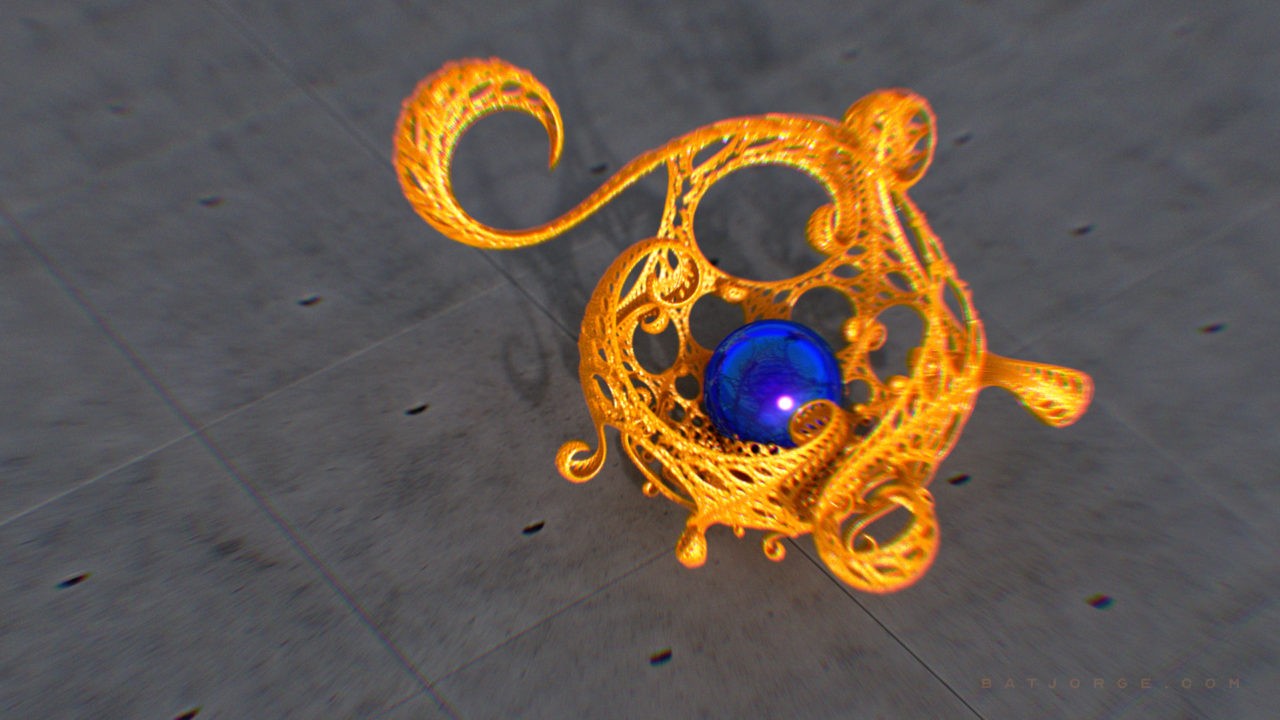 3d kleinian gasket with a sphere on a concrete floor