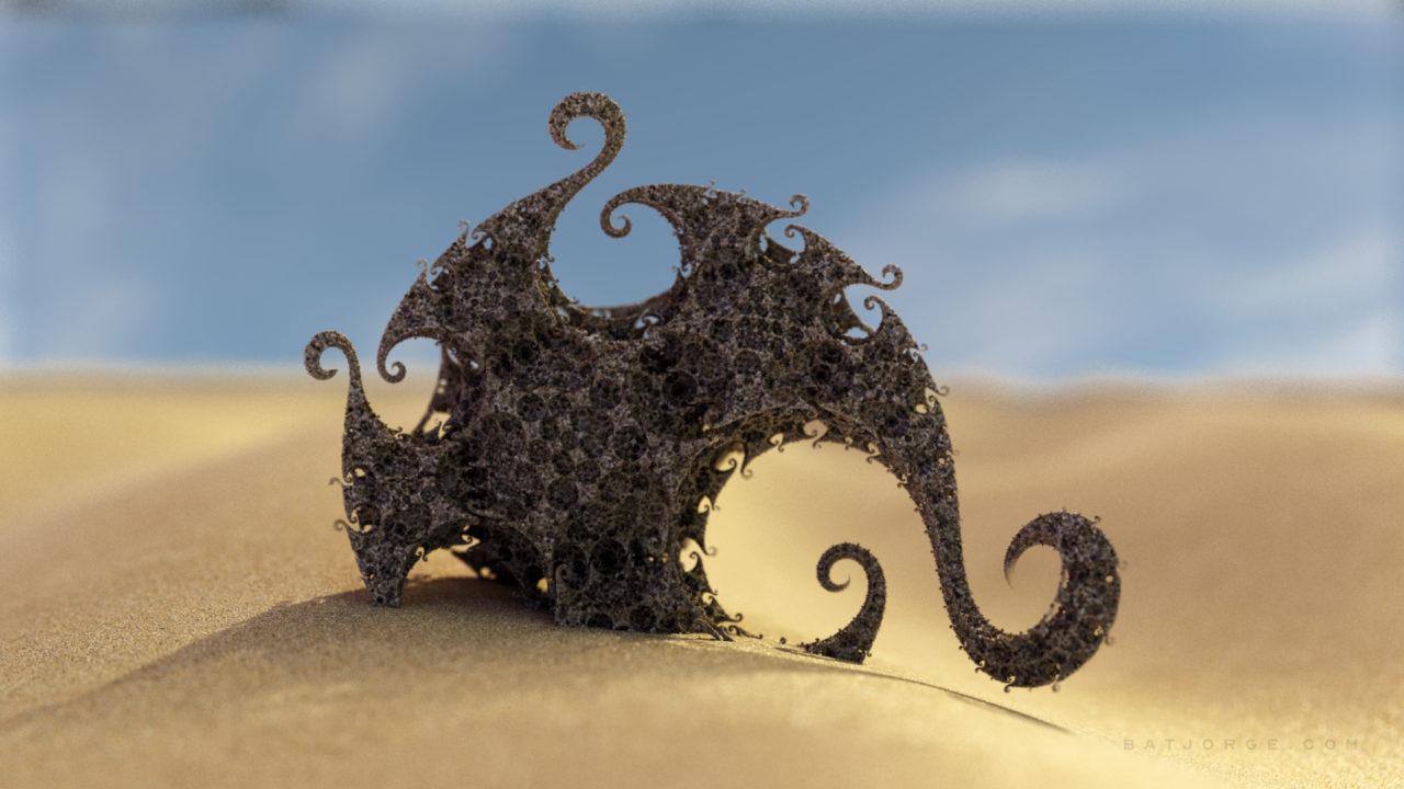 3d kleinian fractal in a desert. mandelbulber software
