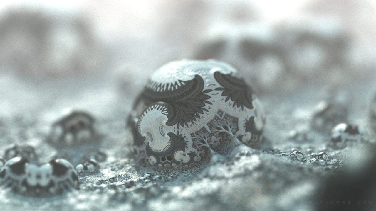 3d fractal. organic look. cold colours