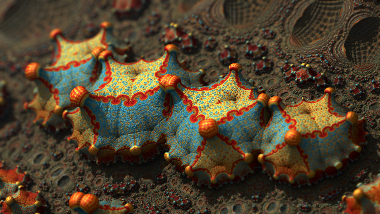 3d fractal. organic look. colourful strange objects