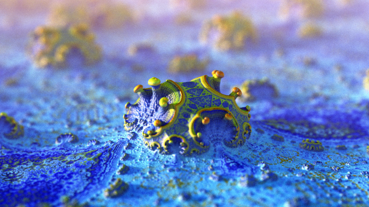 3d fractal.organic look. blue. depth of field.