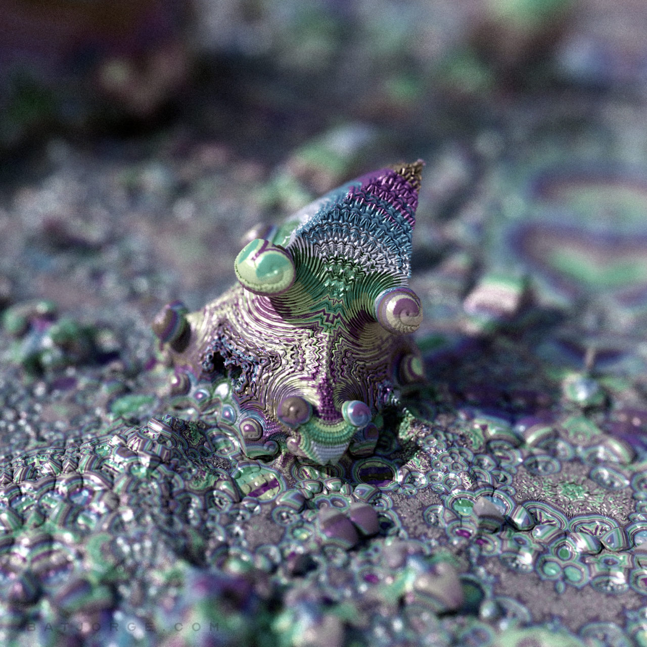 3d psychedelic fractal artwork done with Mandelbulber