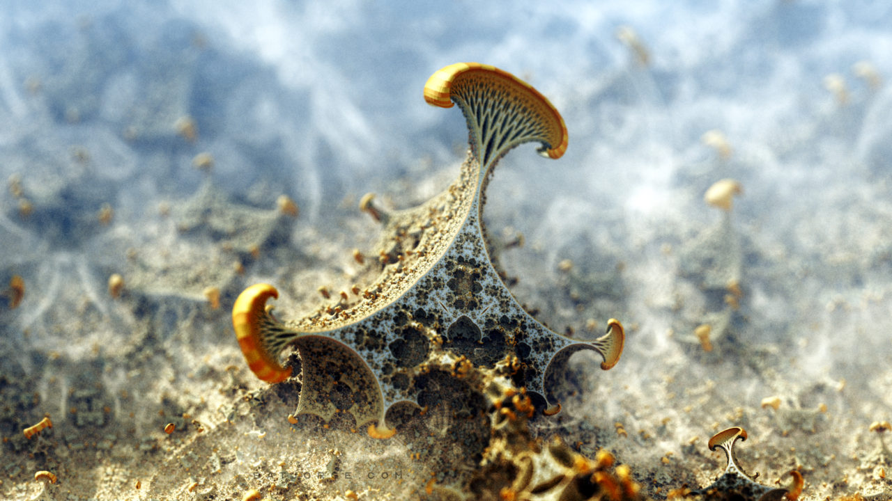 3d fractal image with some organic mushroom appearance