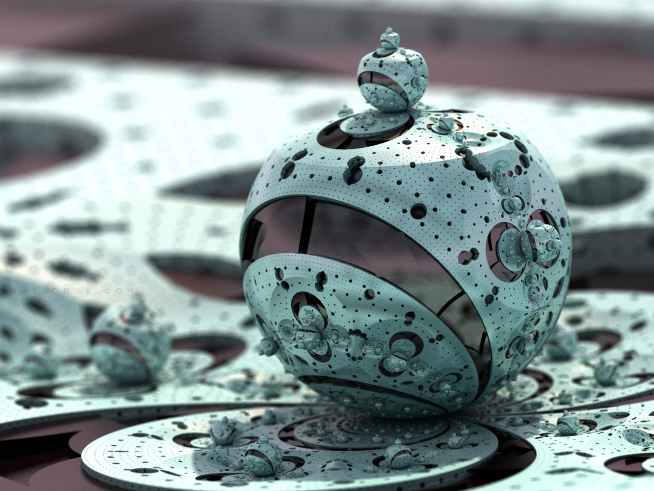 3d fractal. kleinian orb. metallic.