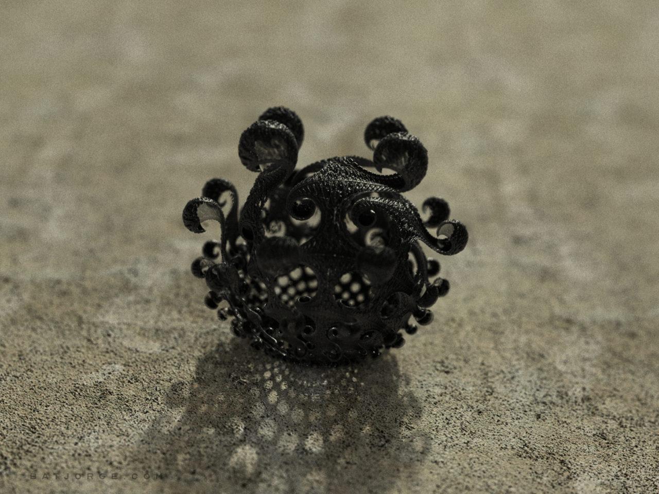 3d fractal. kleinian shape. dark