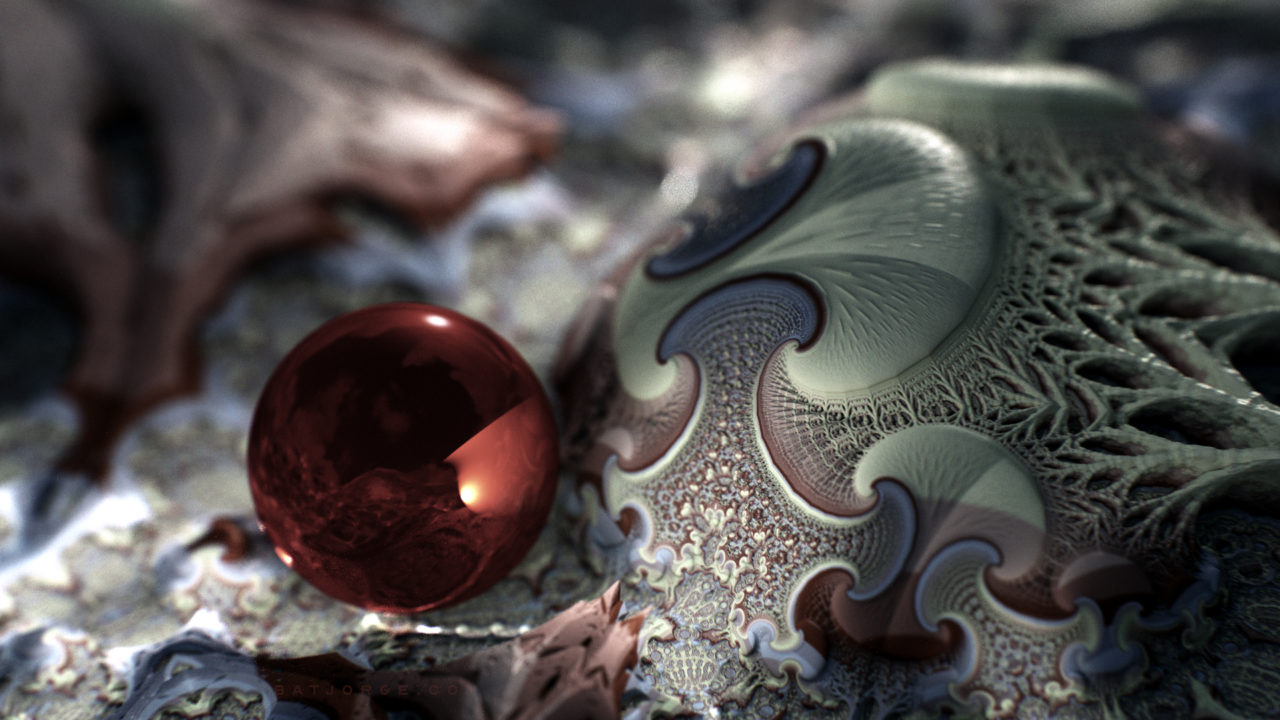 3d fractal.organic look. red sphere. depth of field.