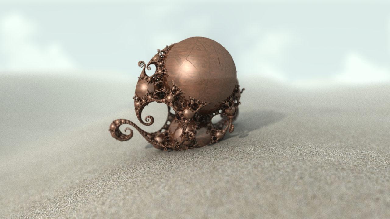 3d fractal. kleinian shape. desertic cooper look