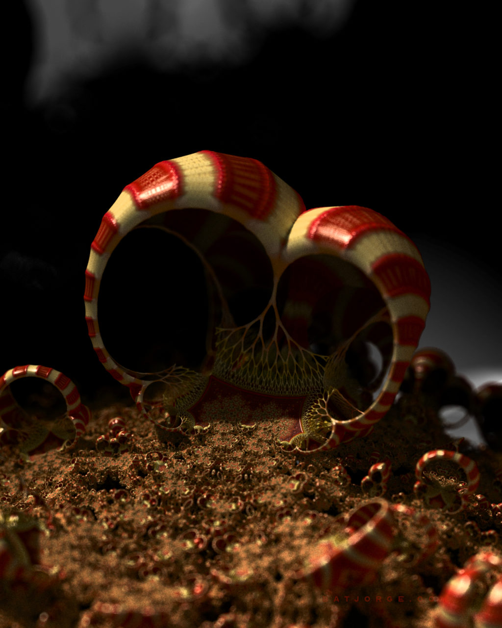 3d fractal. organic look. colourful red striped mushroom-look shapes