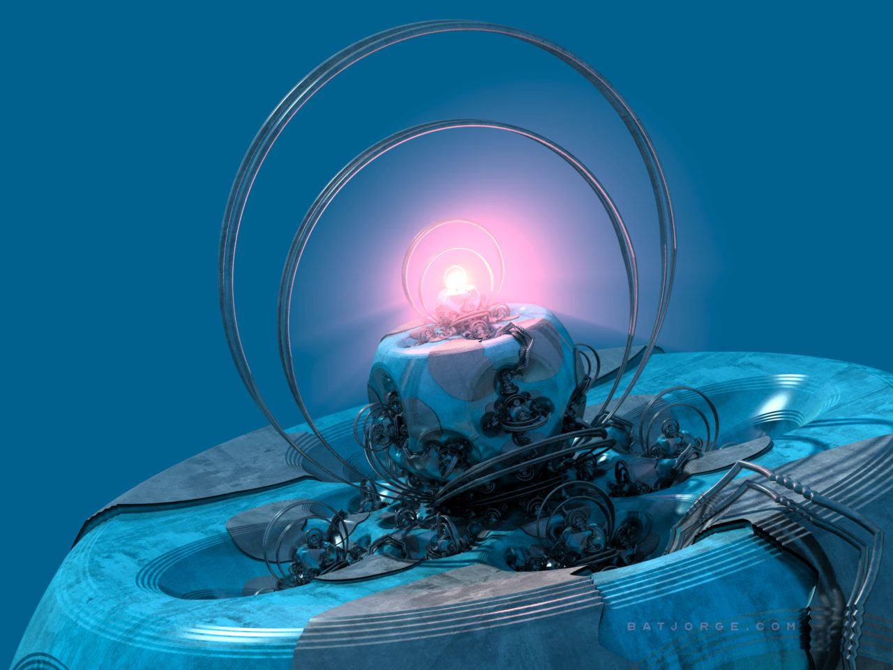 3d fractal. blue. depth of field. classic orb with glowing light at center