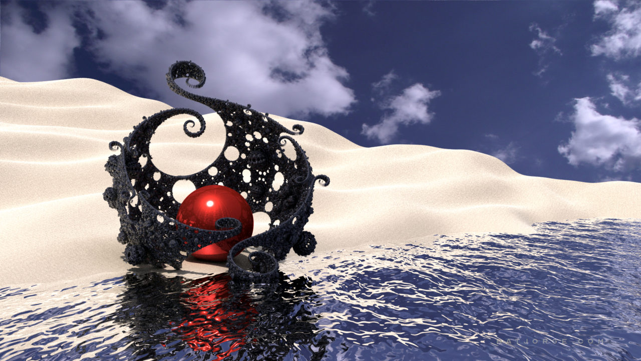 3d fractal. kleinian shape. water. shore, desert cloud background.