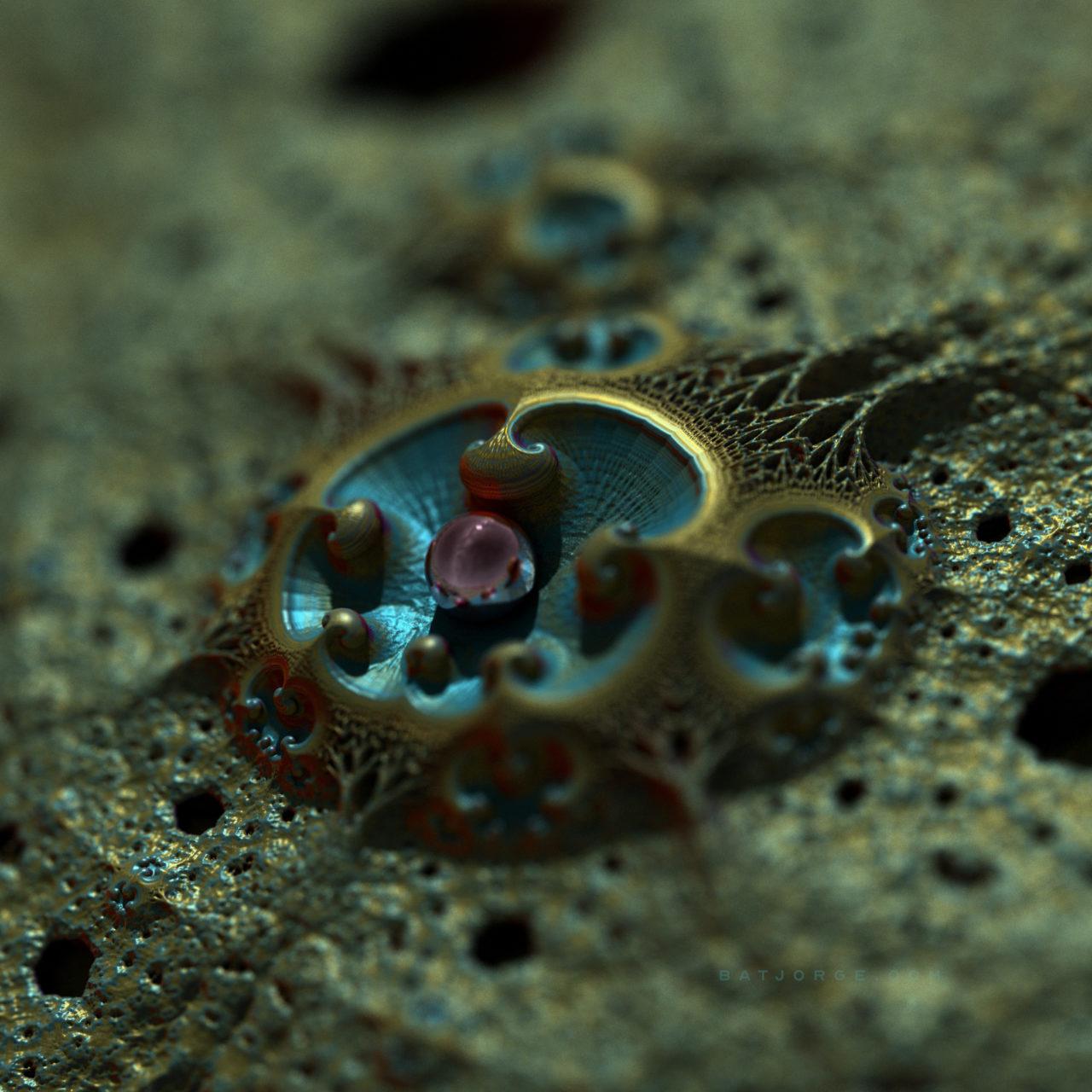 3d fractal.organic look. depth of field. pearl or sphere