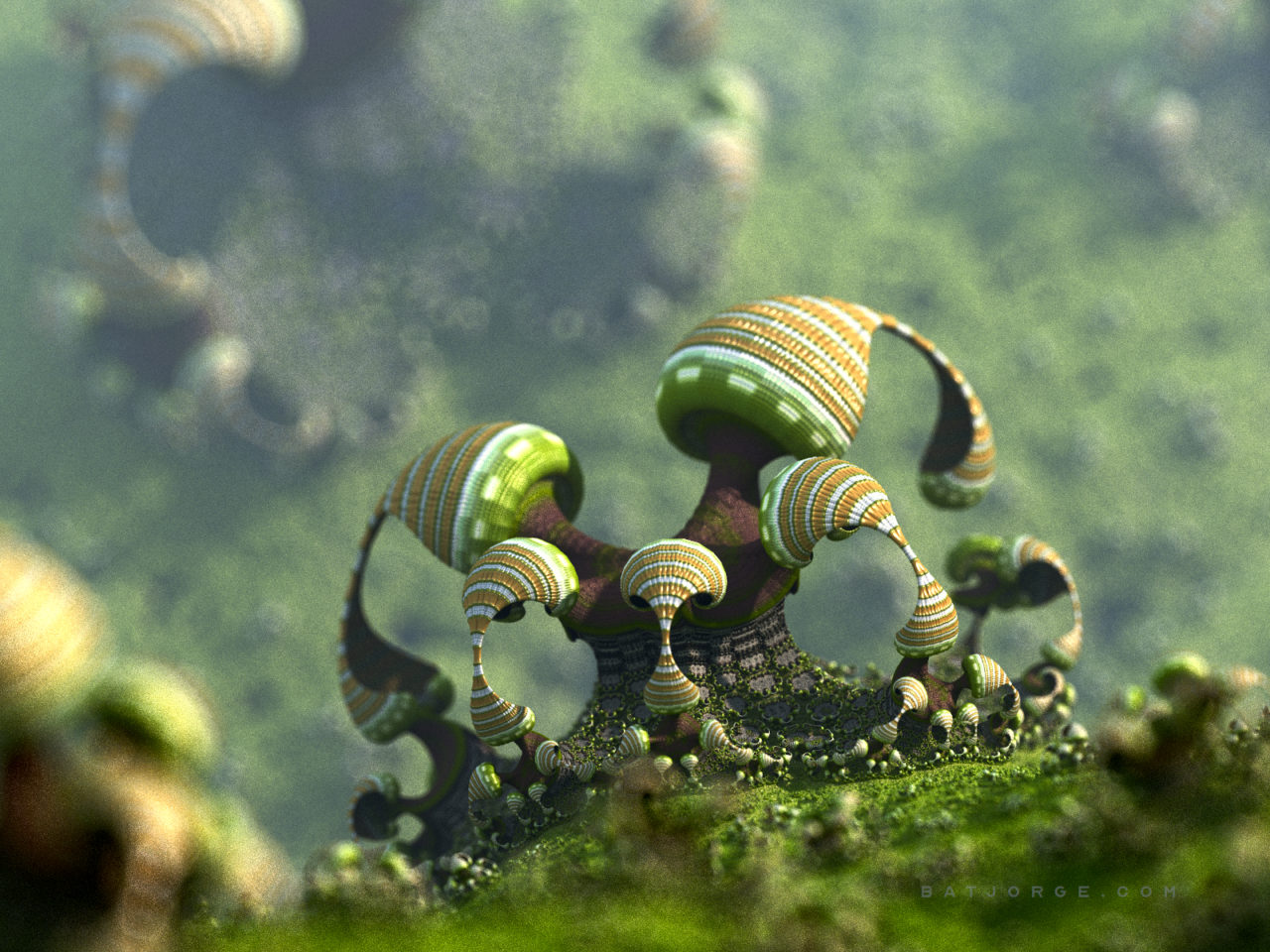 3d fractal.organic look. depth of field. mushroom like