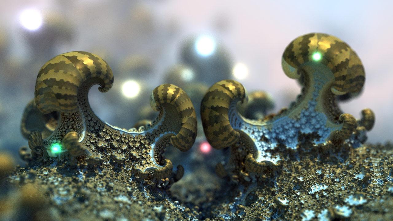 3d fractal.organic look. depth of field. mushroom like. random lights