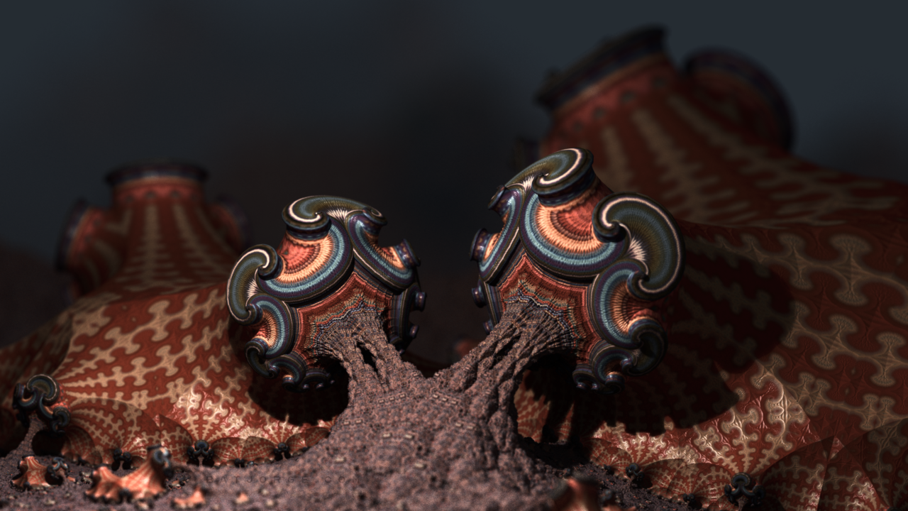 3d fractal.organic look. depth of field. mushroom brown