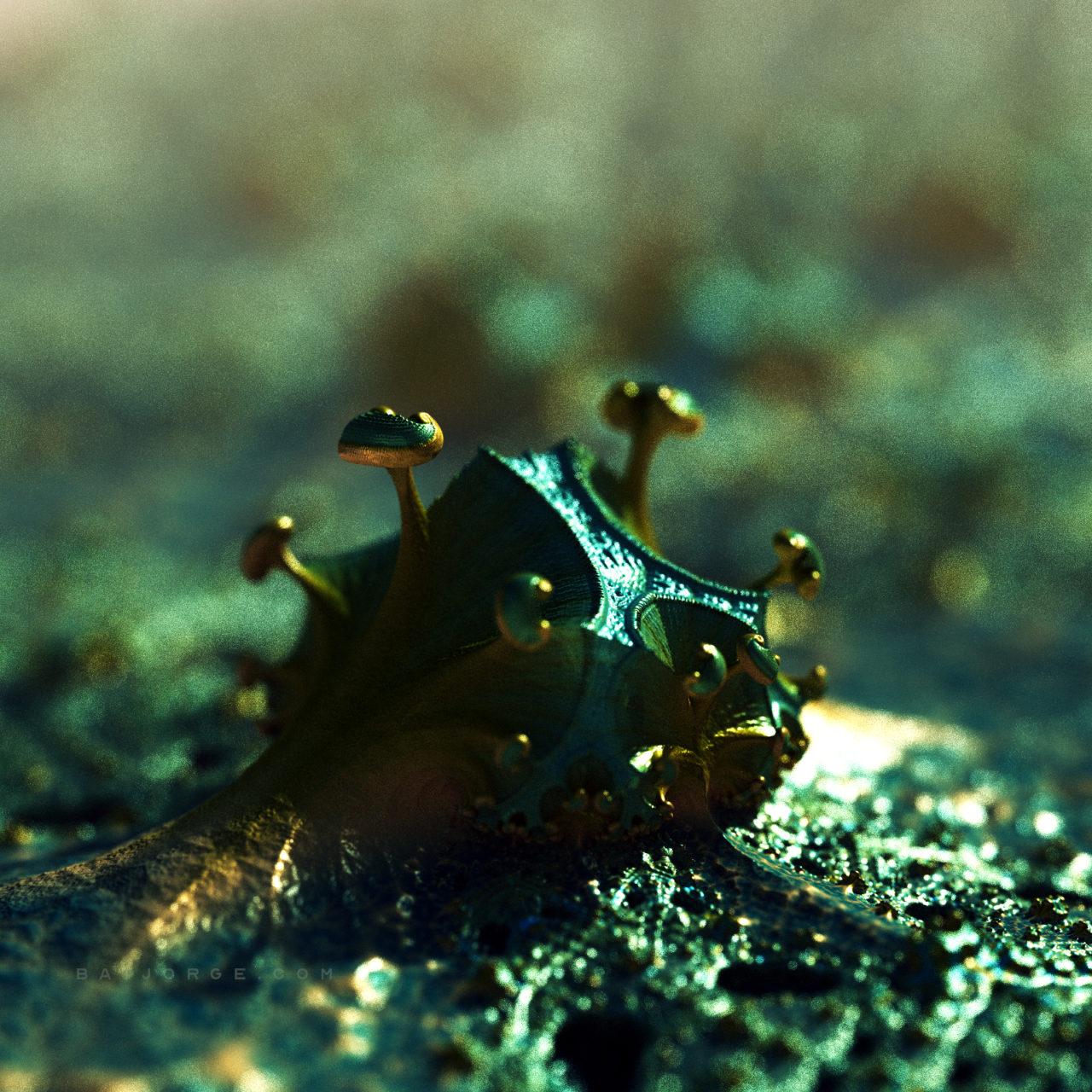3d fractal.organic look. depth of field. mushroom alien plant