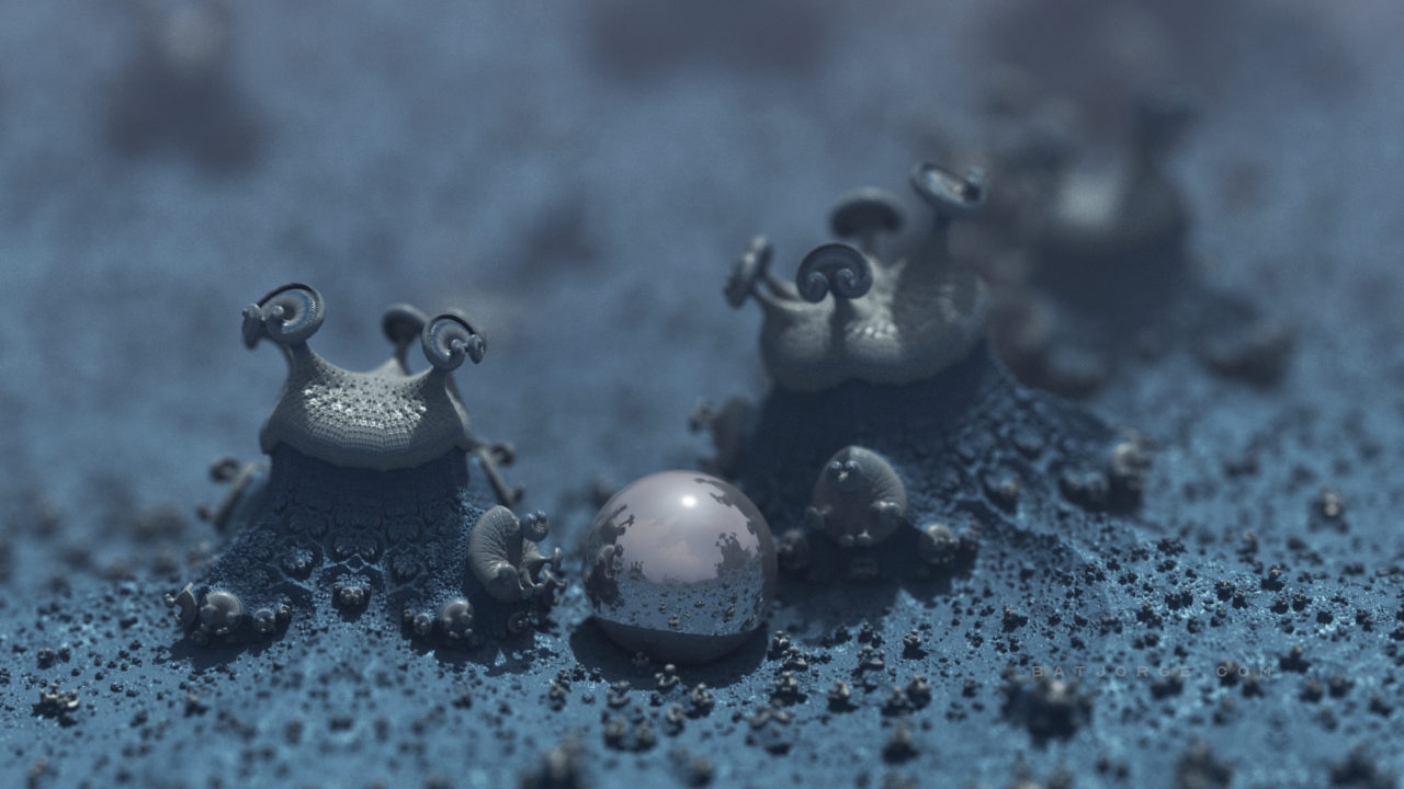 3d fractal.organic look. depth of field. mushroom like blue