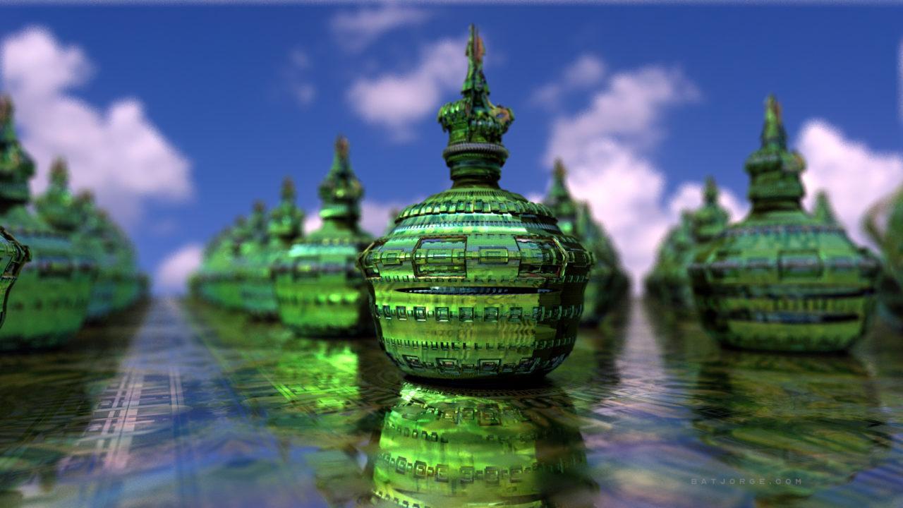 3d fractal. experimental green. stupas