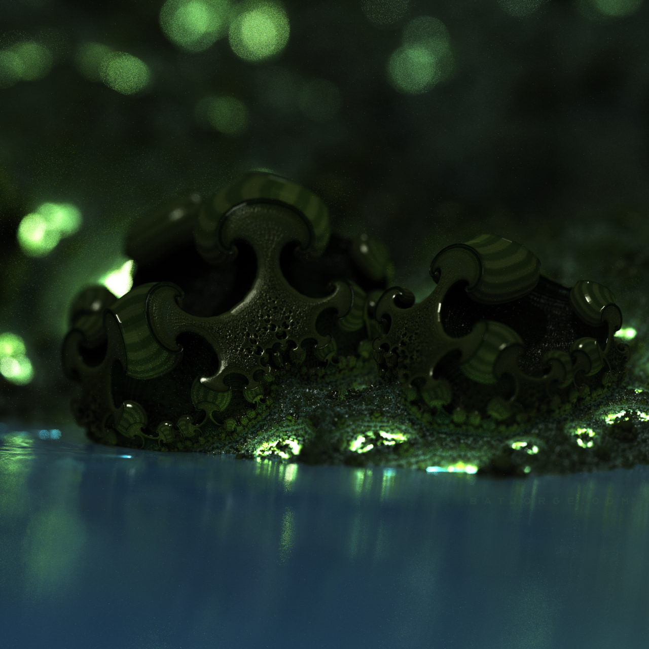 3d fractal.organic look. depth of field. mushroom like green. mandelbulber
