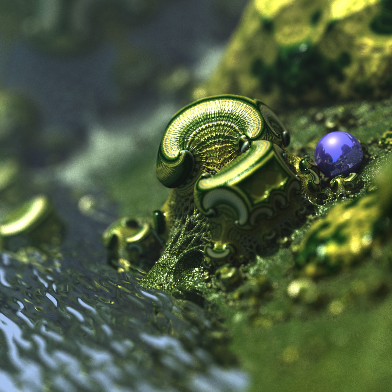 3d fractal.organic look. depth of field. mushroom like green water