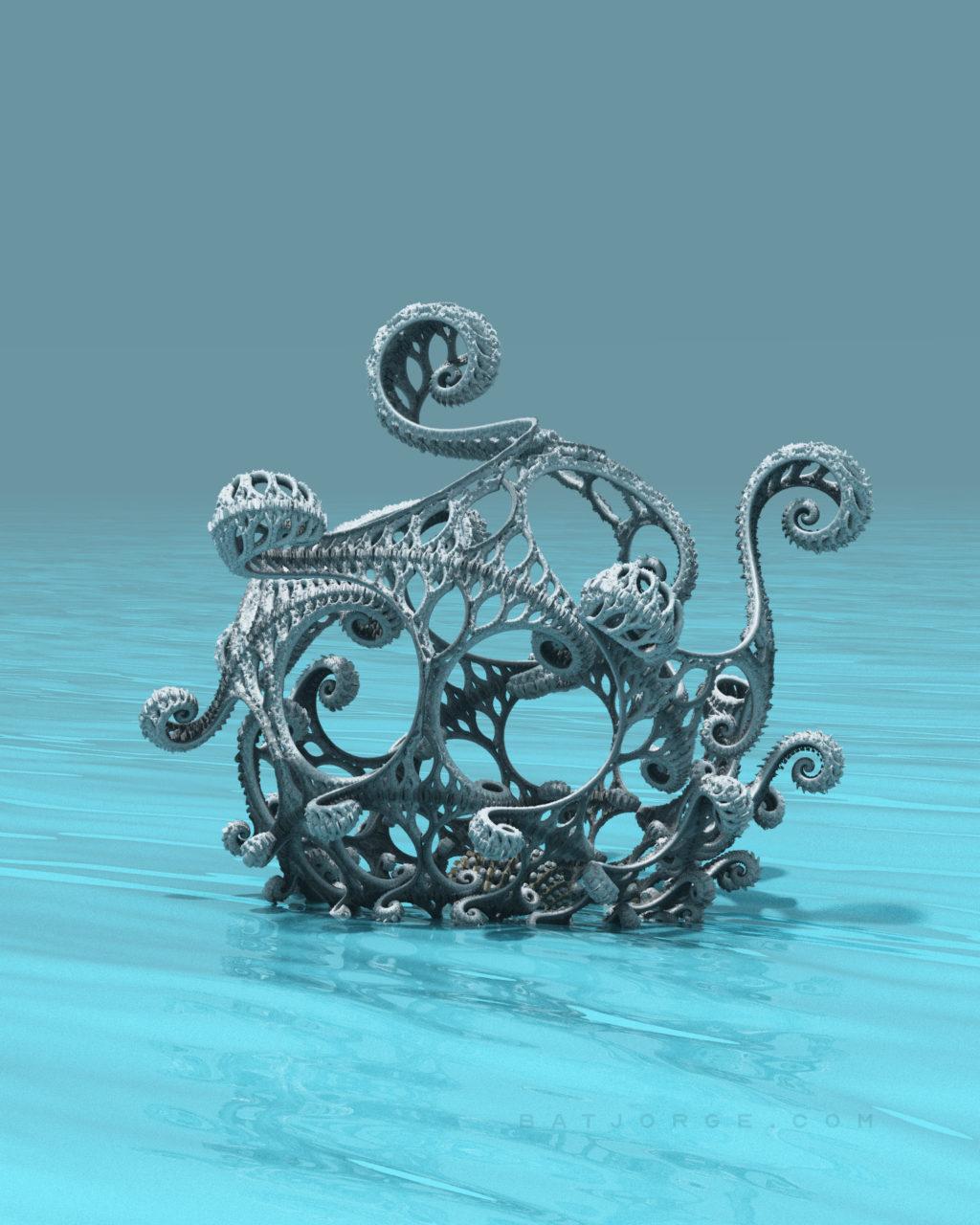 3d fractal. kleinian shape. water.