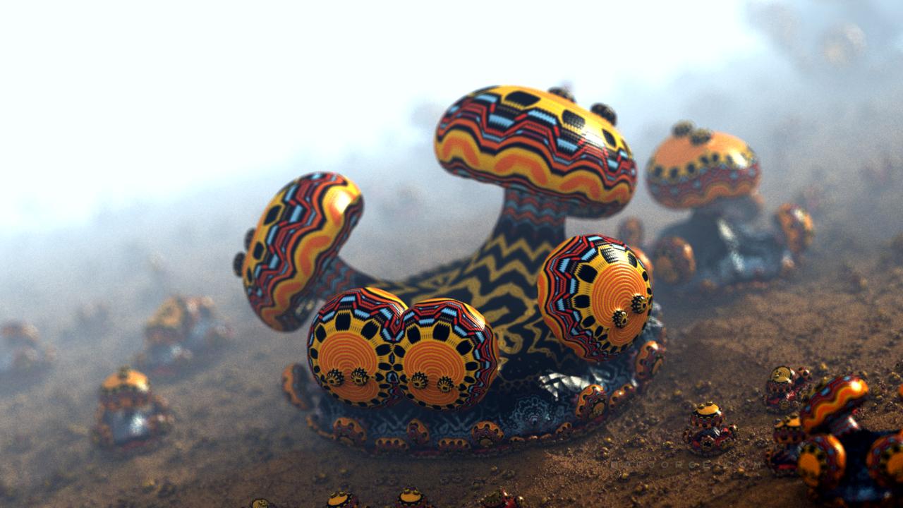 3d fractal.organic look. depth of field. mushroom like. psychedelic colors