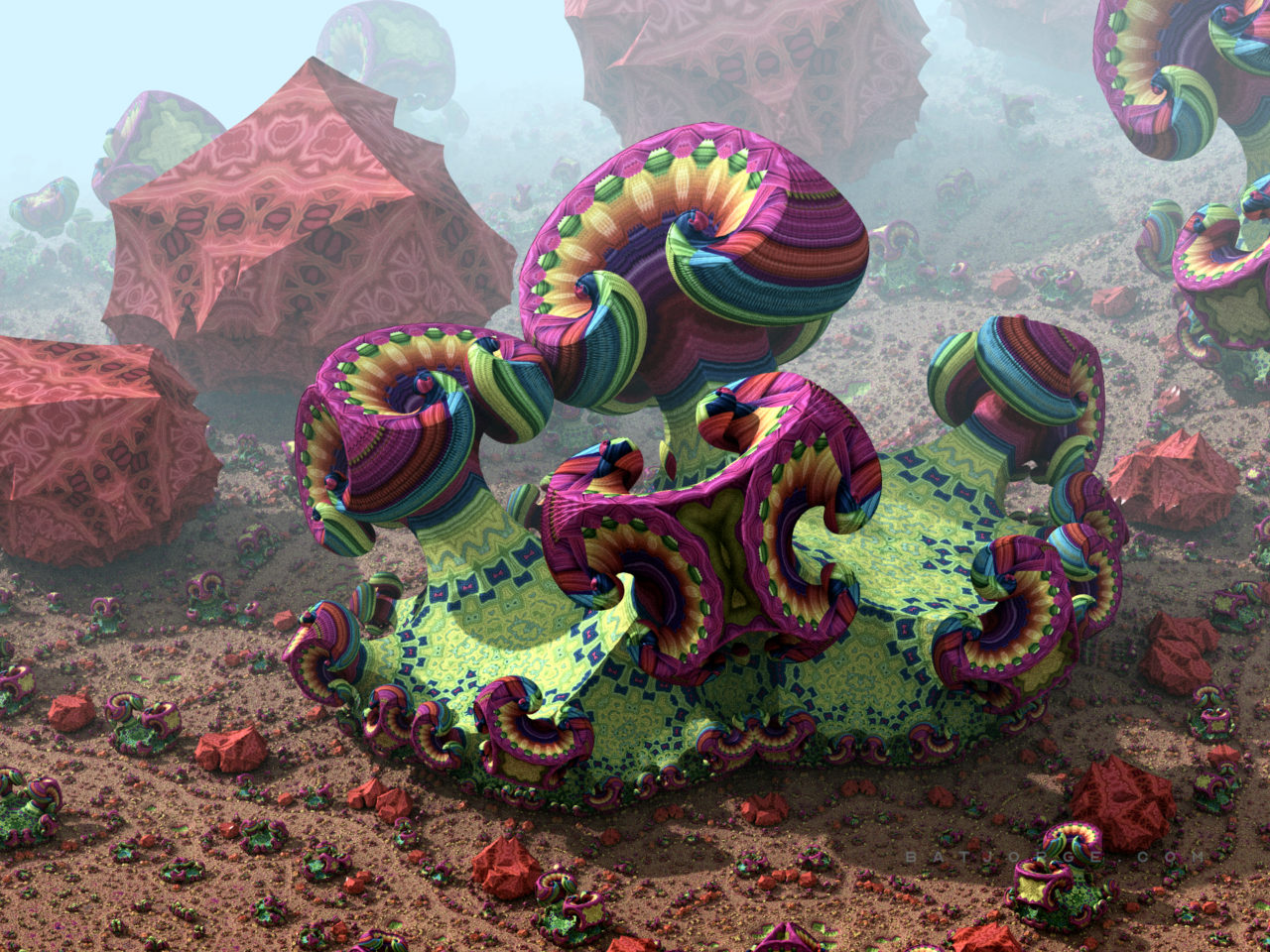 3d fractal.organic look. mushroom like. psychedelic colors