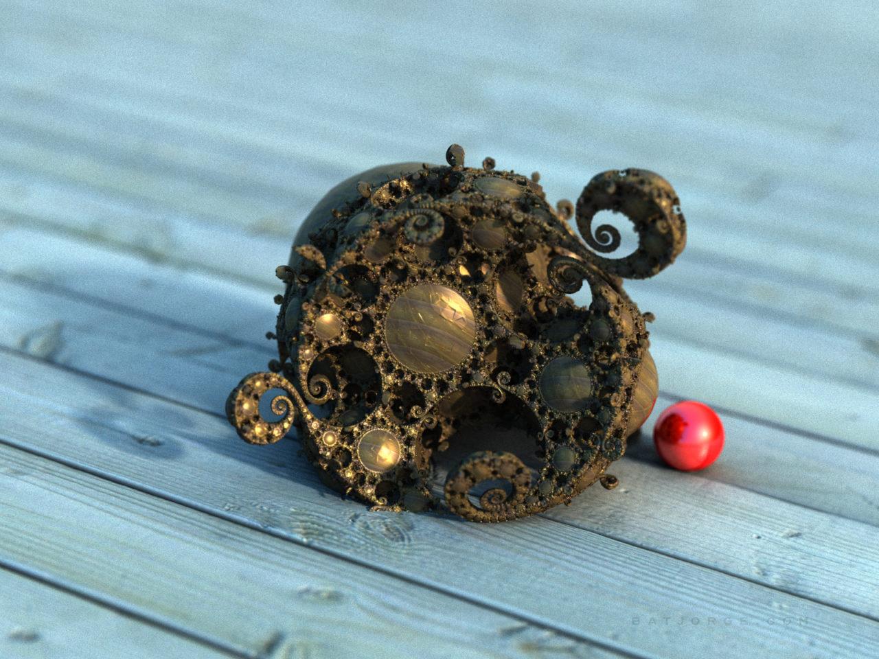 3d fractal. kleinian shape on wood board. red sphere