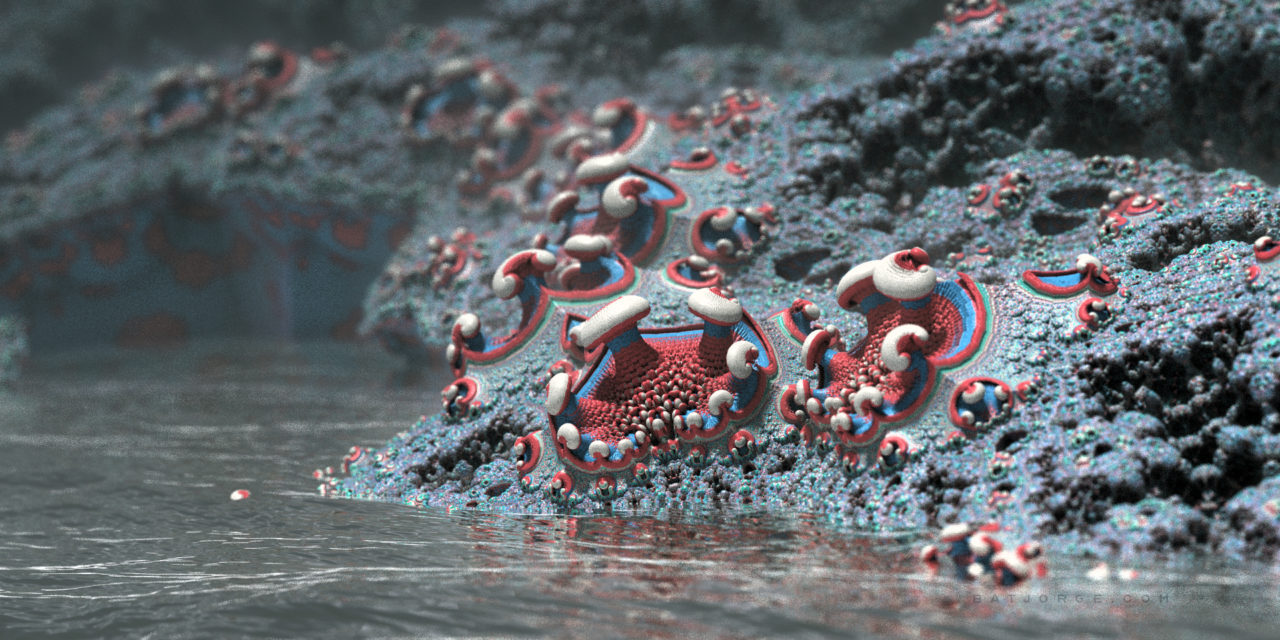 3d fractal.organic look. depth of field. mushroom like. mandelbulber water
