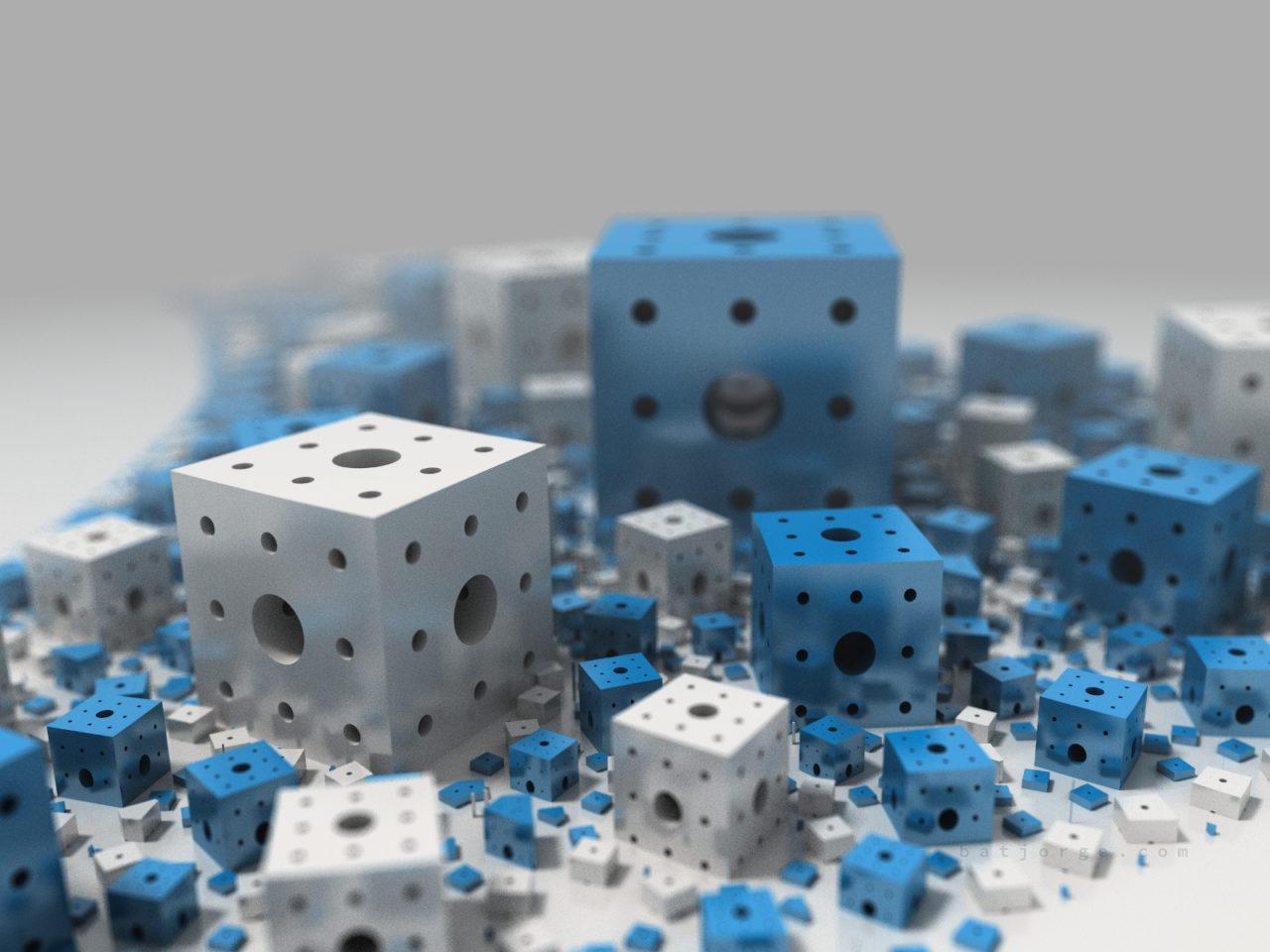 3d menger cubes fractal blue white apollonian