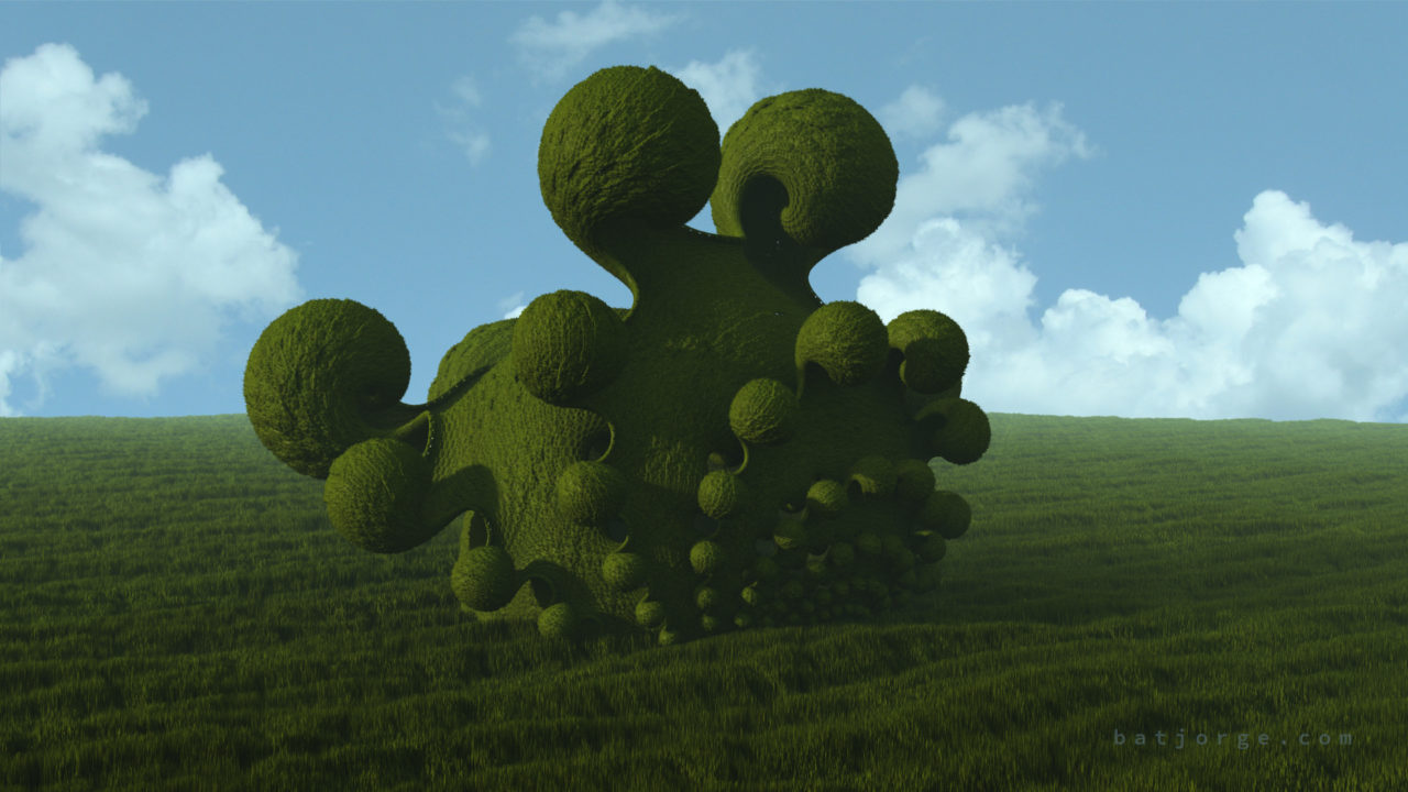 3d fractal. kleinian on grass