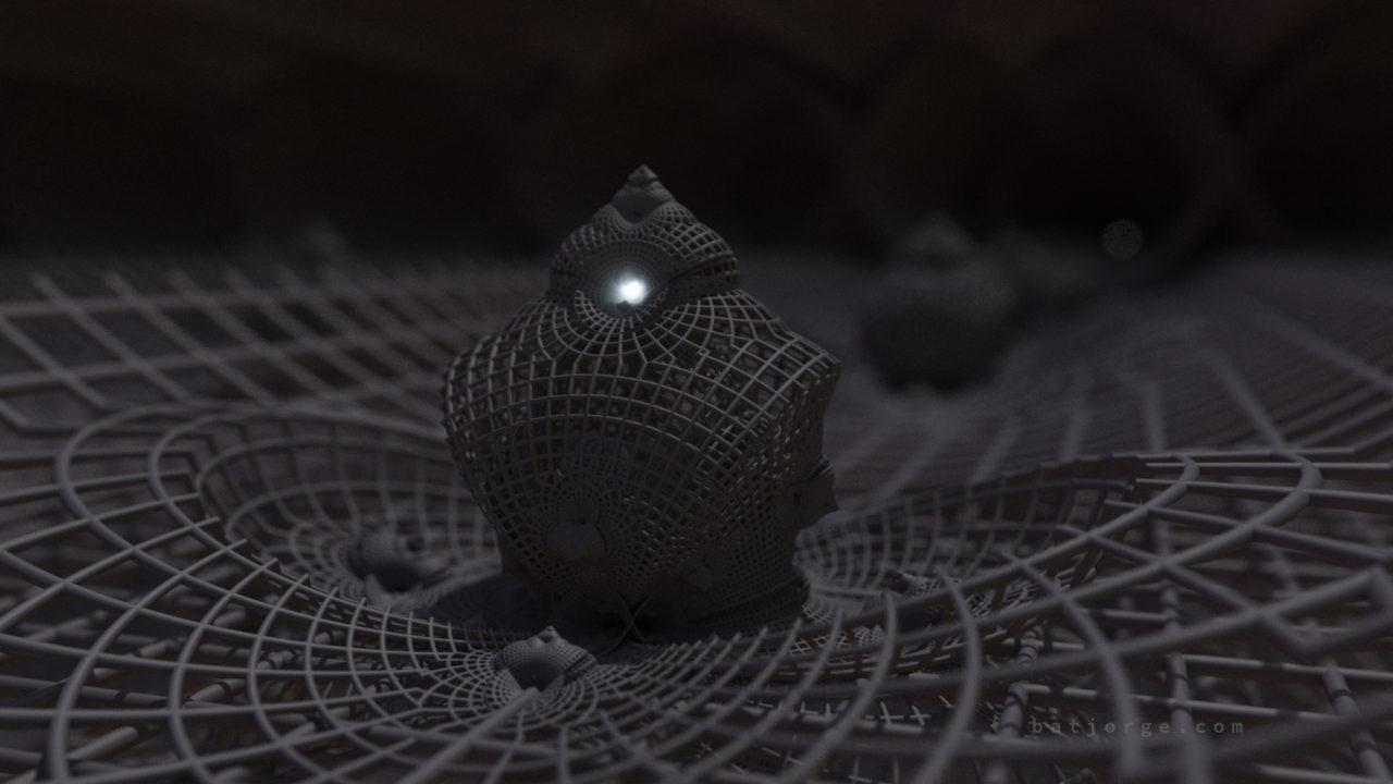 3D fractal orb. mandelbulber pseudokleinian grid