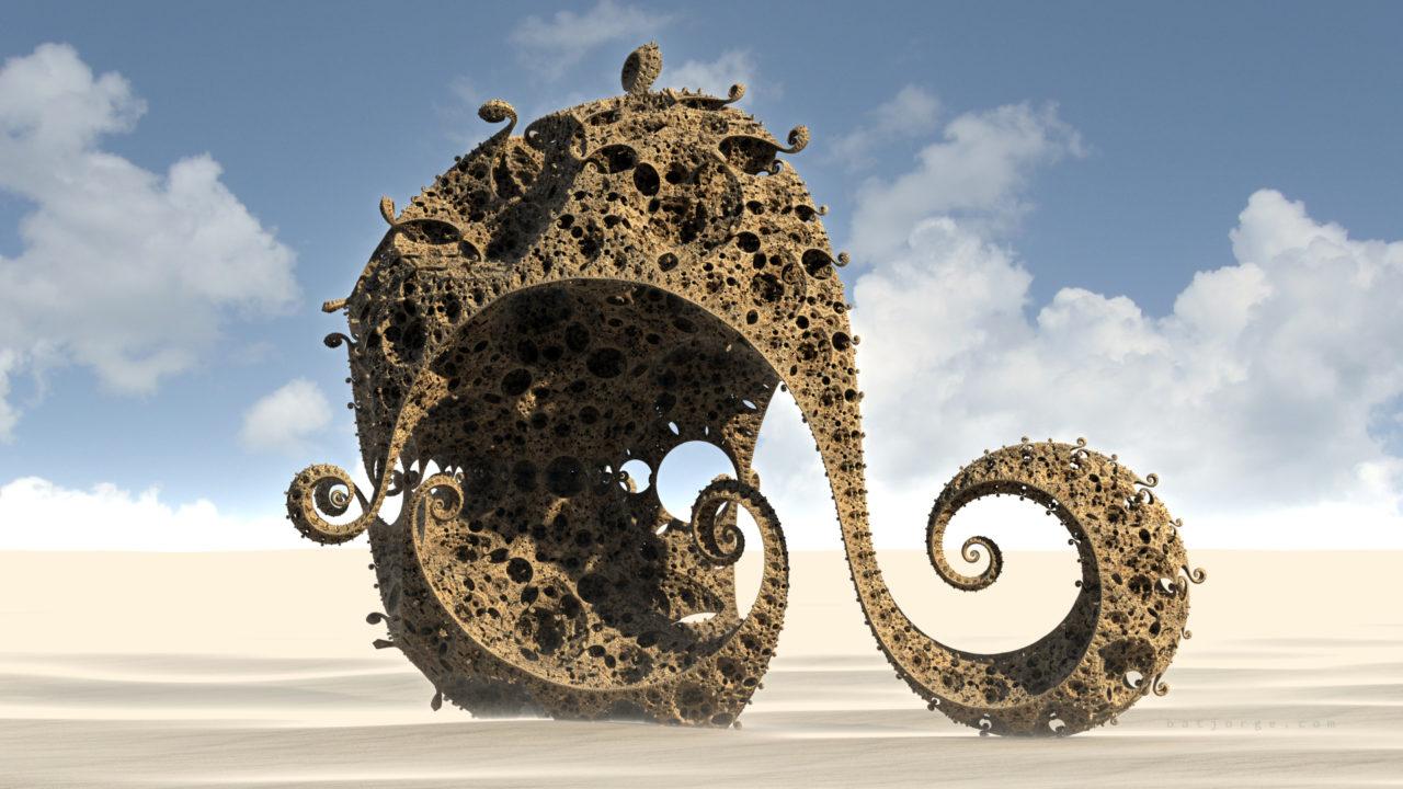 3d fractal. kleinian on desert. mandelbulb3d