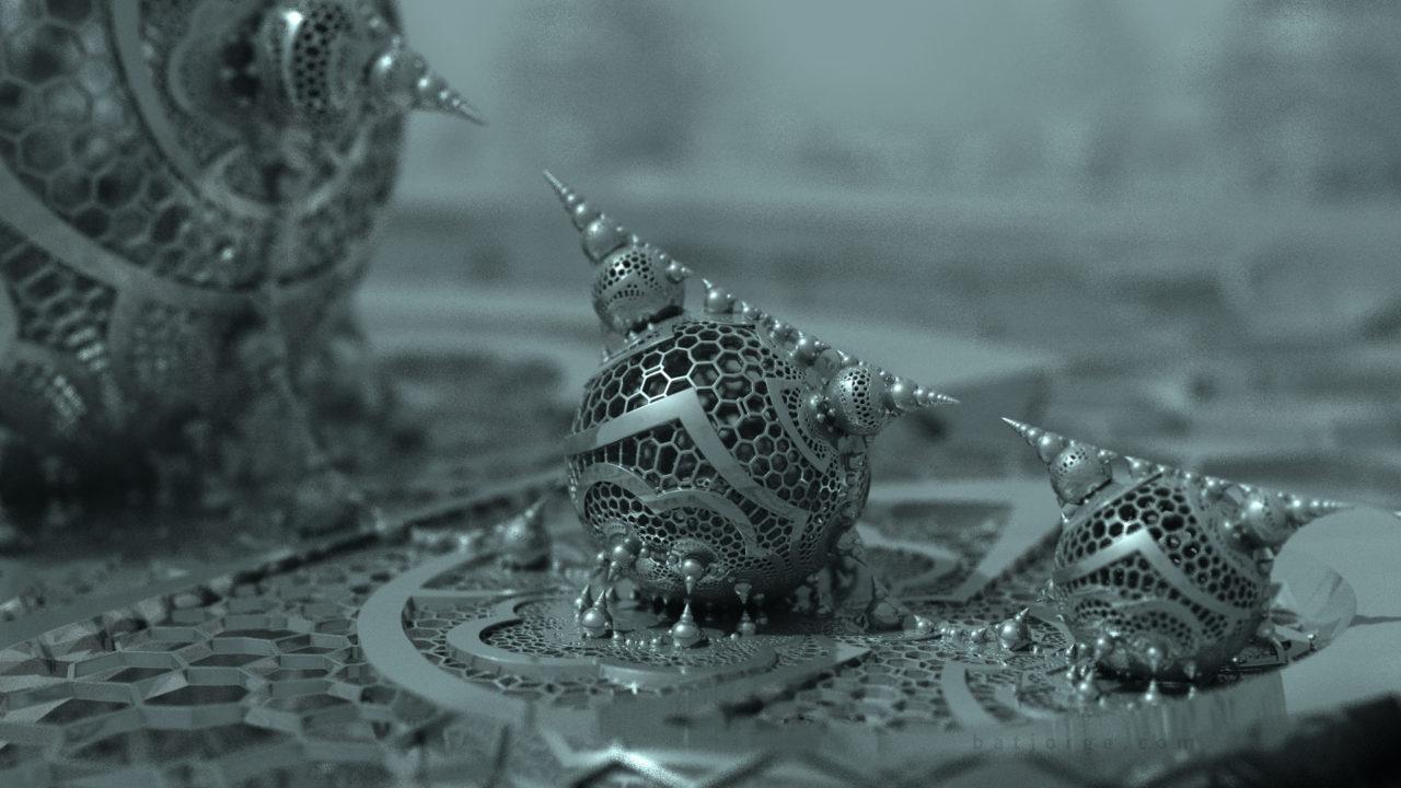 3D fractal orb. mandelbulber pseudokleinian dIFS hexgrid