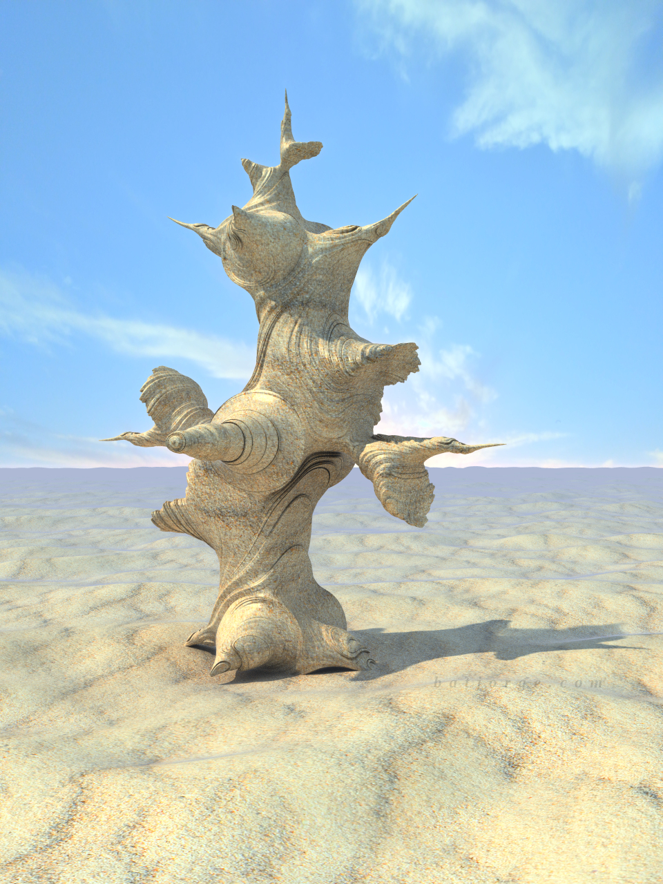 3D fractal sculpture. abstract. desert