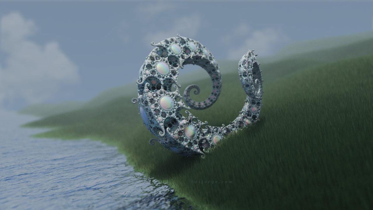 3d fractal. kleinian. mandelbulber grass water