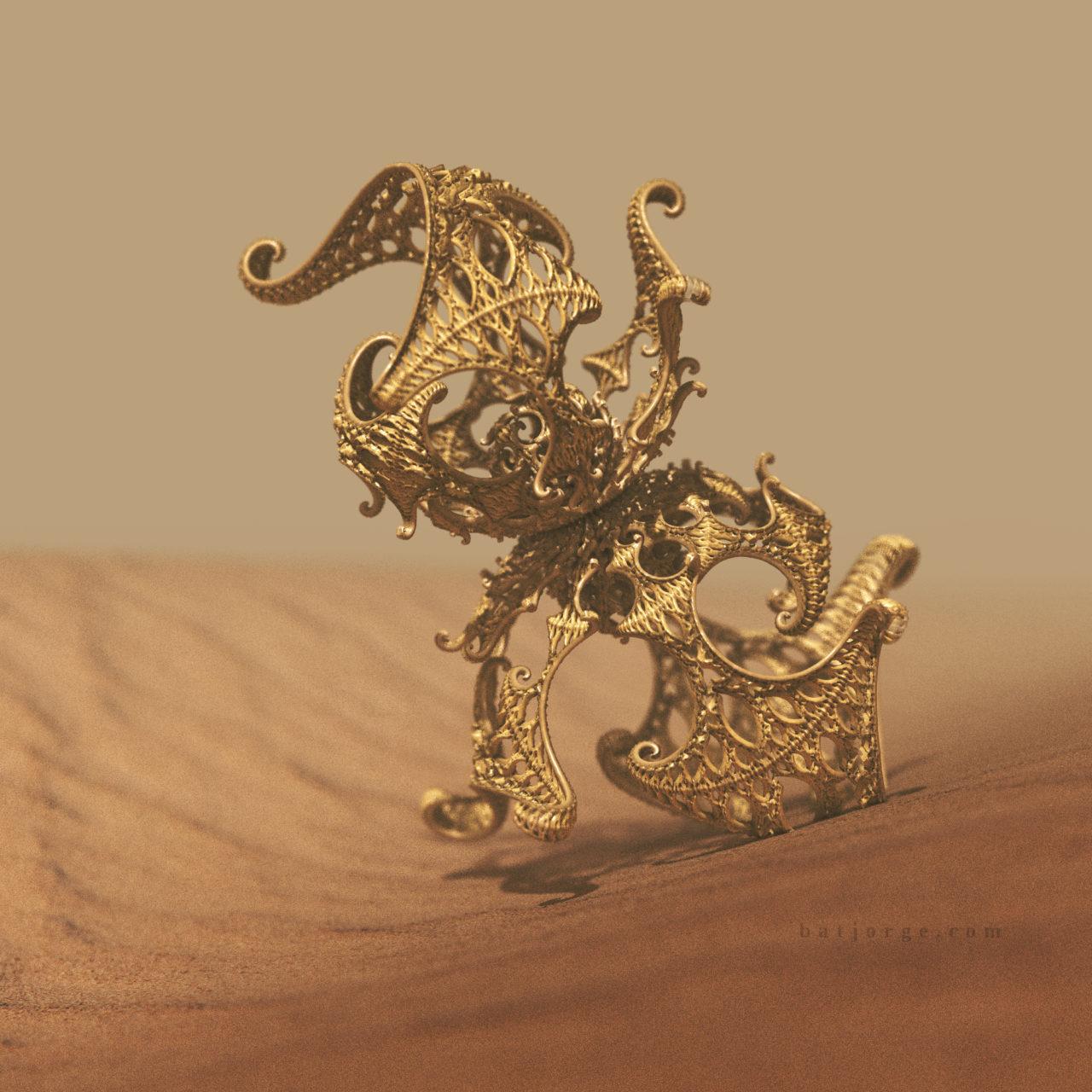 3d fractal. kleinian on desert. mandelbulber