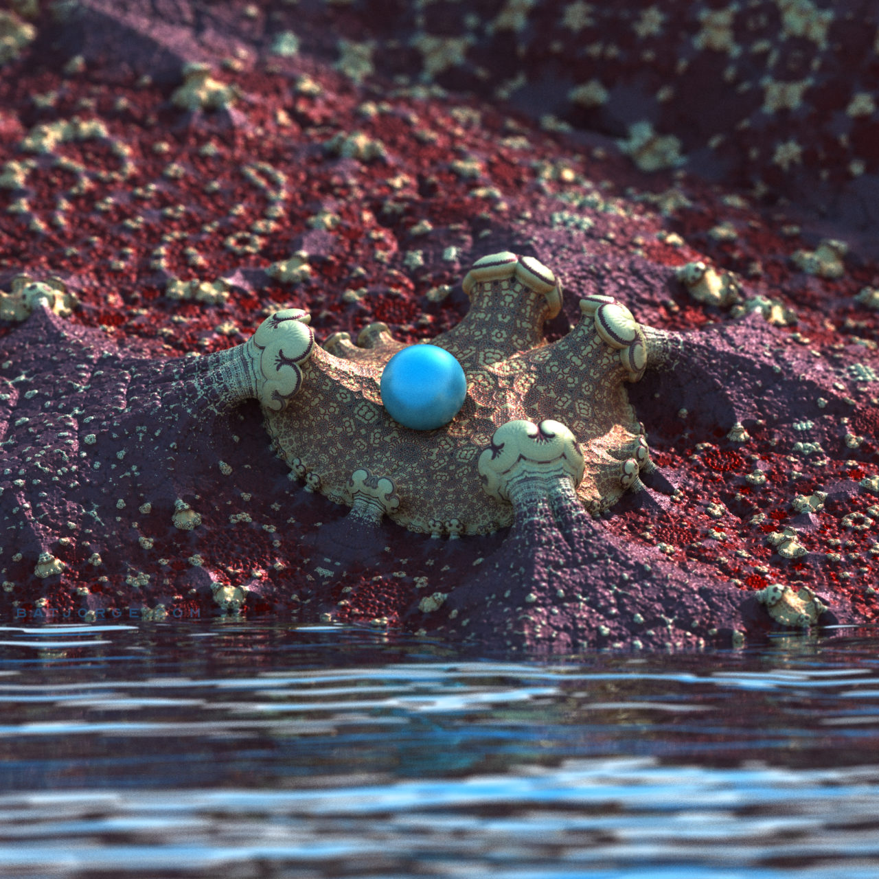 3D fractal orb. mandelbulber amazingsurf water