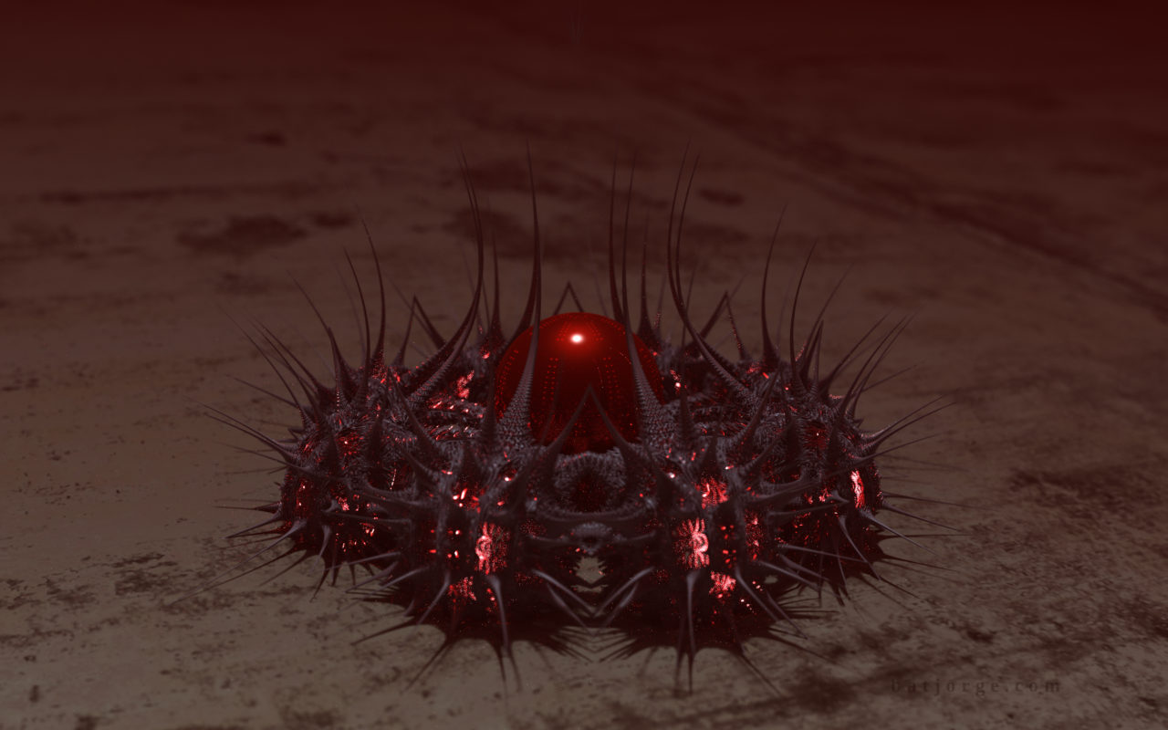 3D fractal. mandelbulber abstract spikes red sphere
