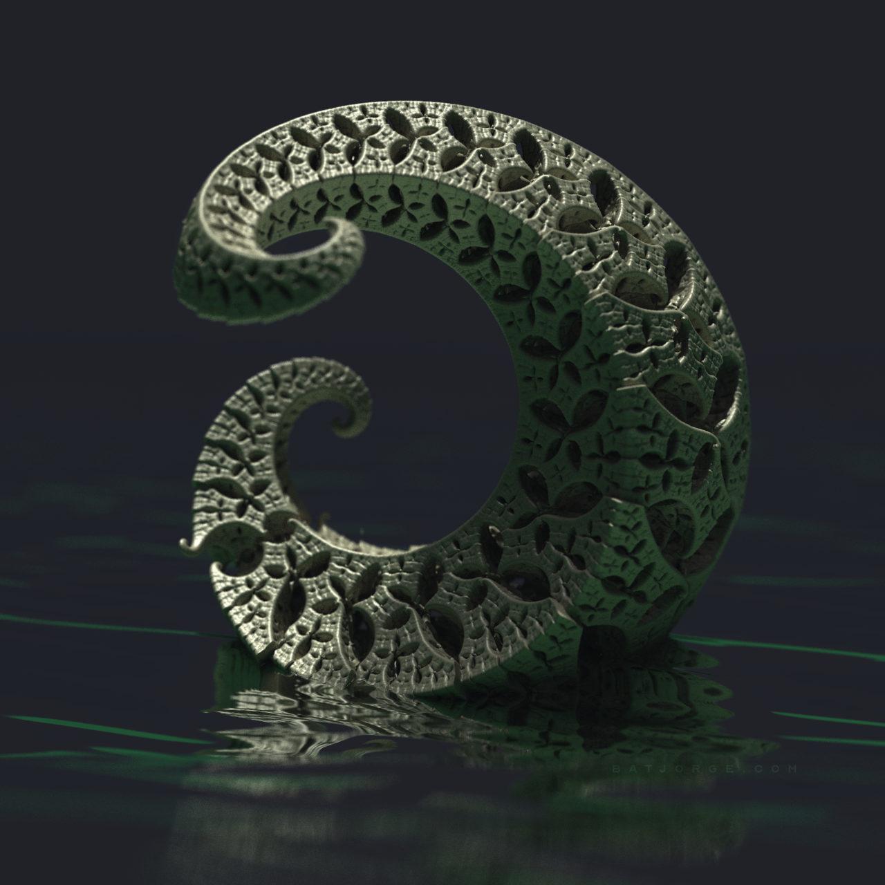 3d fractal. kleinian. mandelbulber water