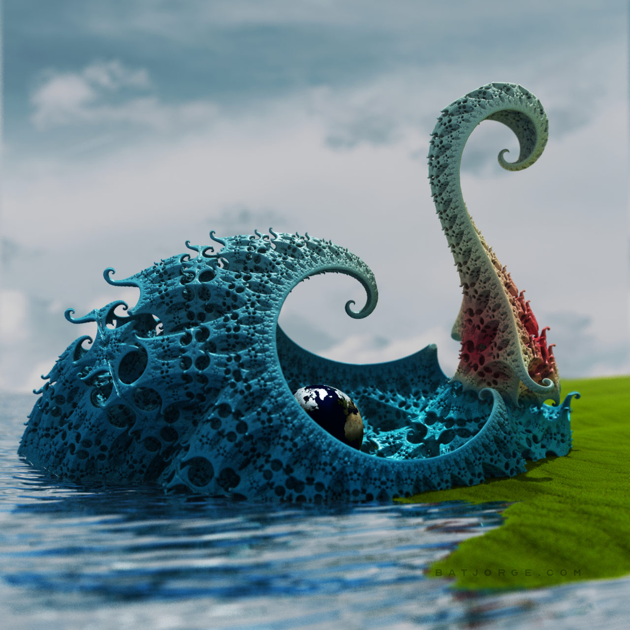 3d fractal. kleinian. mandelbulber water earth sphere