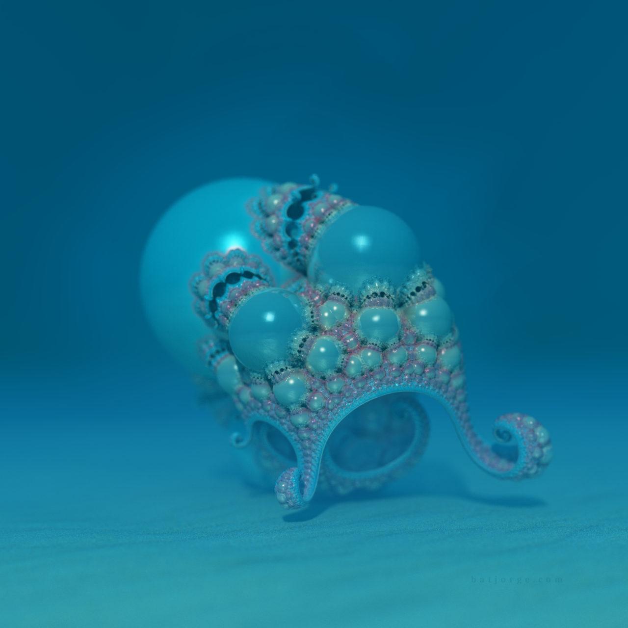3d fractal. kleinian. mandelbulber water octopus
