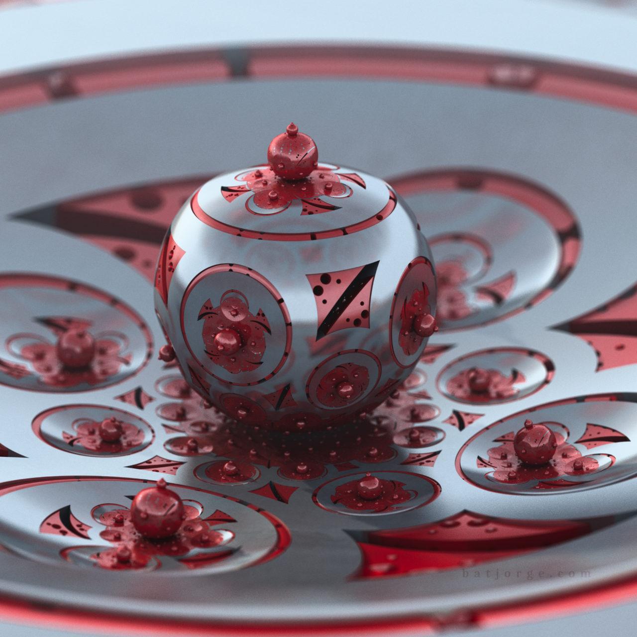 3d amazingifs mandelbulb3D. Red metallic orb