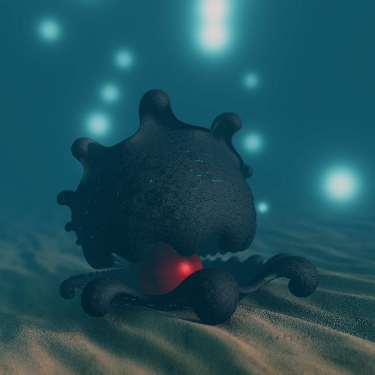 3d fractal. kleinian. mandelbulber underwater sphere