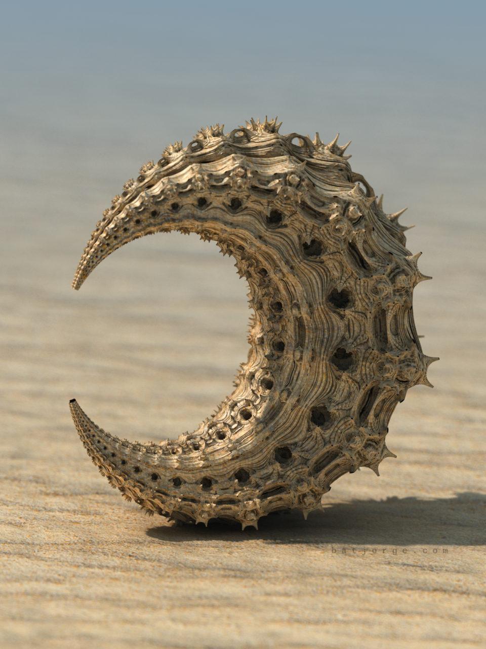 3d fractal. mandelbulb3d. experimental desert half moon