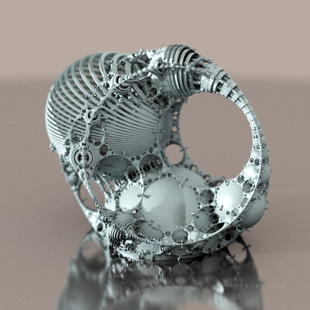 3D fractal orb. mandelbulber pseudokleinian blockified