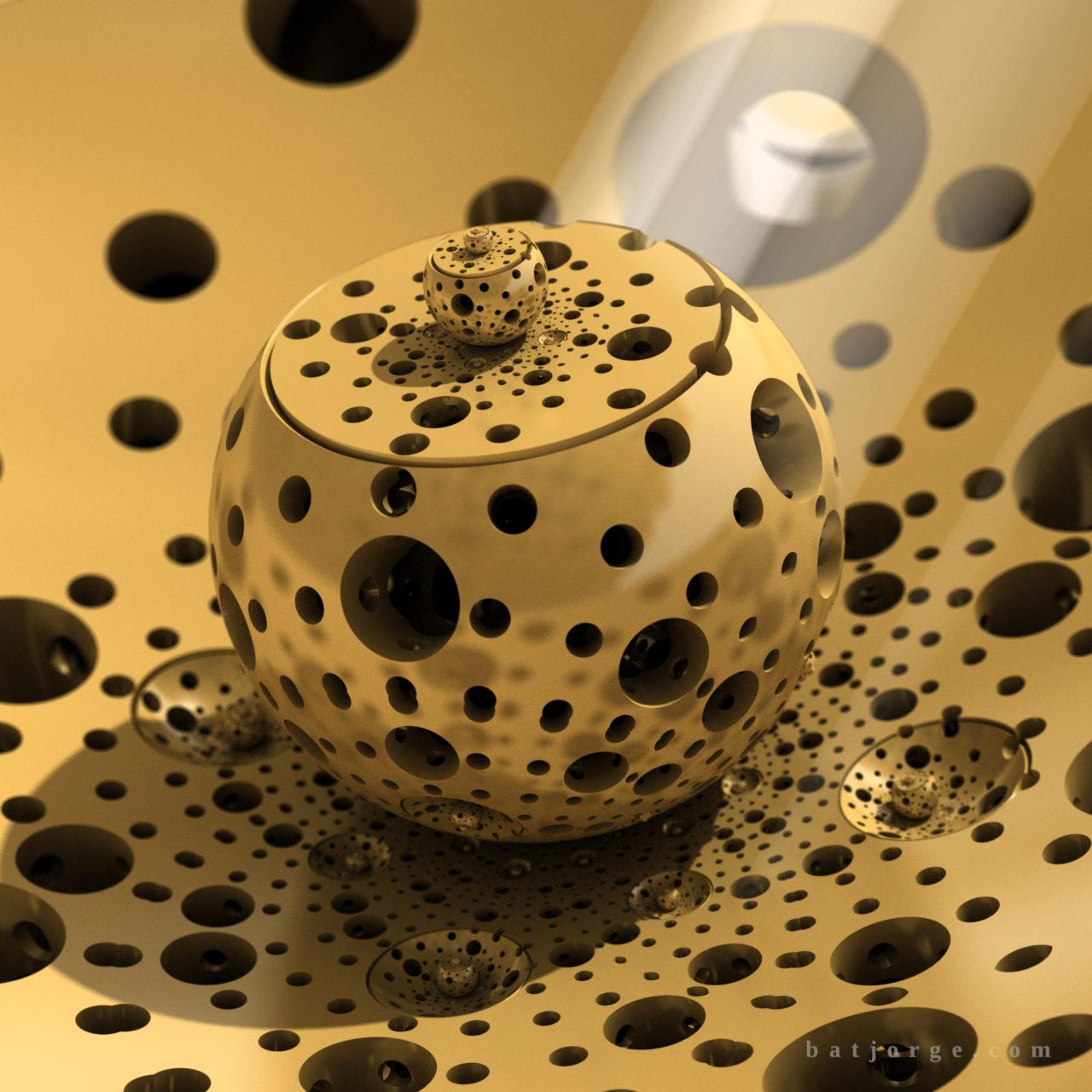 3d fractal. mandelbulb3d. dIFS. modern metallic cheese